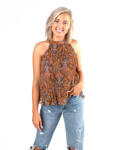 Suzani Print W Soft Micropleated Halter Top