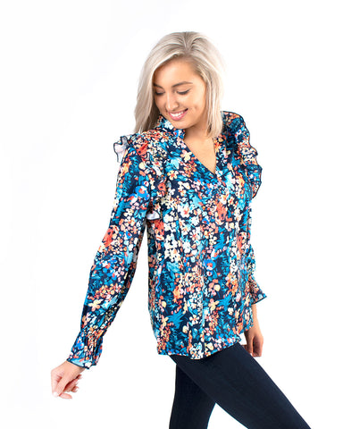 Ruffle Pleated Floral Blouse