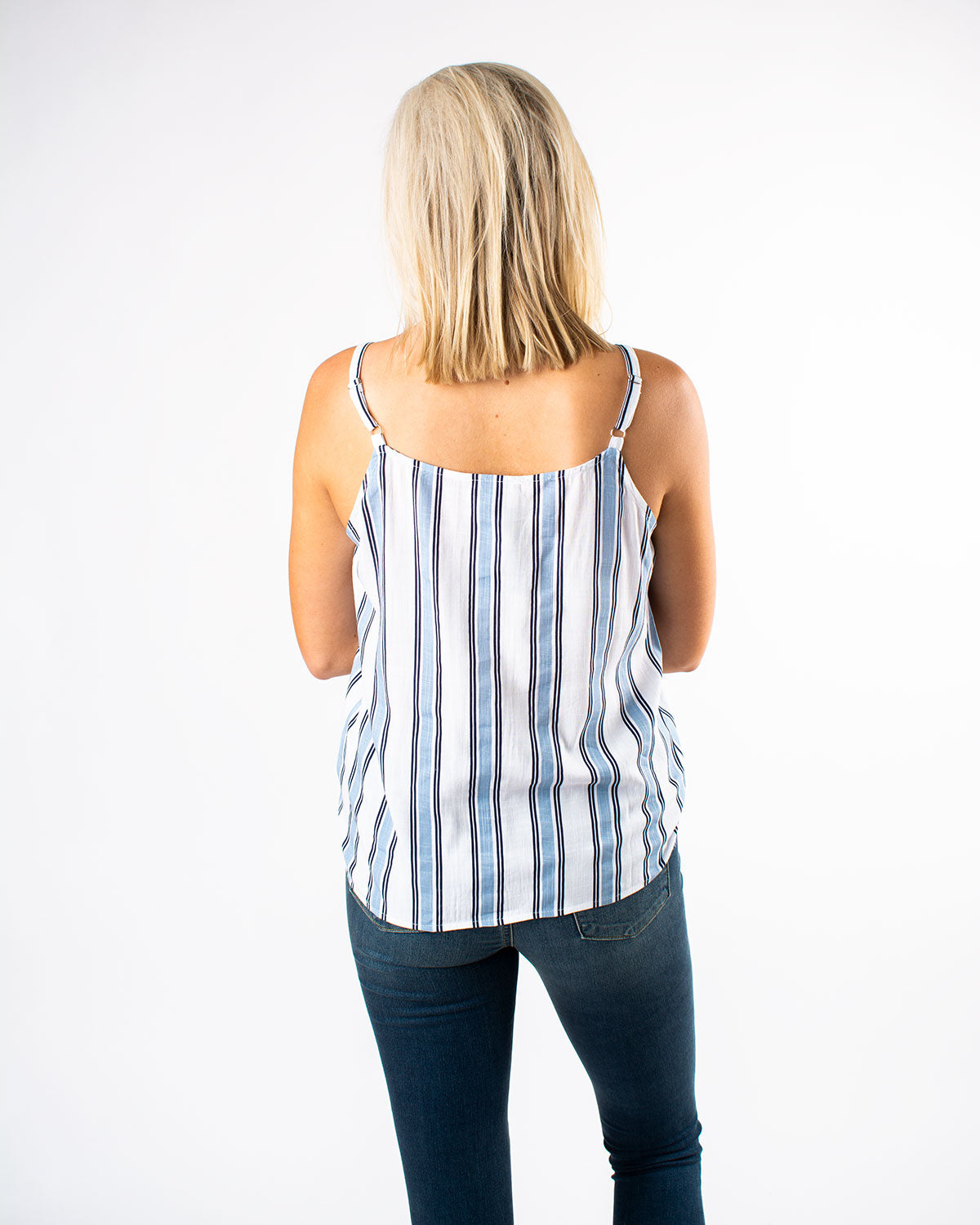 V-Neck Button Down Sleeveless Striped Top