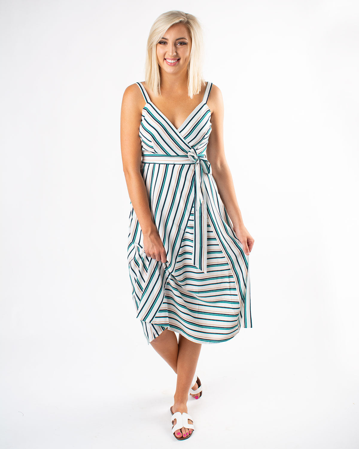 Mixed Stripe Tie Front Dress