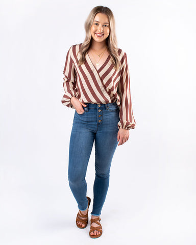 Striped V-Neck Long Sleeve