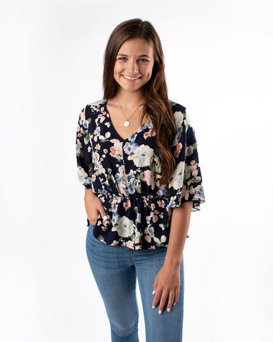 Wide Sleeve Floral  Blouse