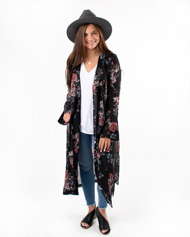 Flower Print Maxi Trench Coat