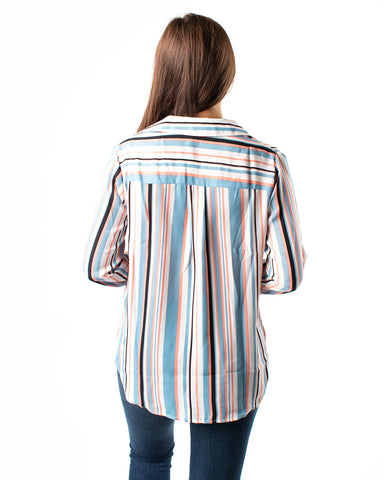 Long Sleeve Stripe Top with Front Pocket