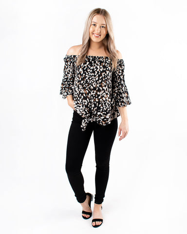 3/4 Bell Sleeve Animal Print Top