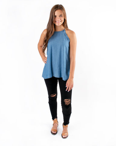 Halter Ruffle Detailed Denim Top