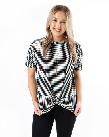 Striped Tie Up S/S Top