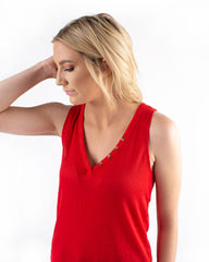 V-Neck Button Front Tank
