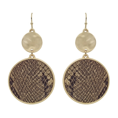 Brown Snake Print Gold Circle Earring