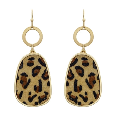Gold Circle Cheetah Drop Earring