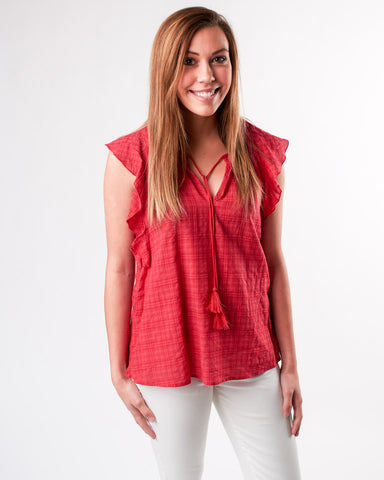 Tie Blouse with Ruffle