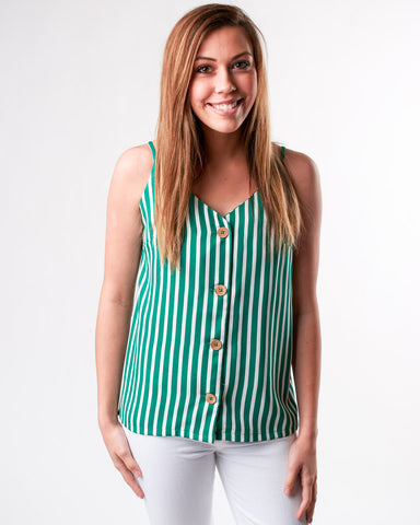 Button Front V-Neck Tank Top
