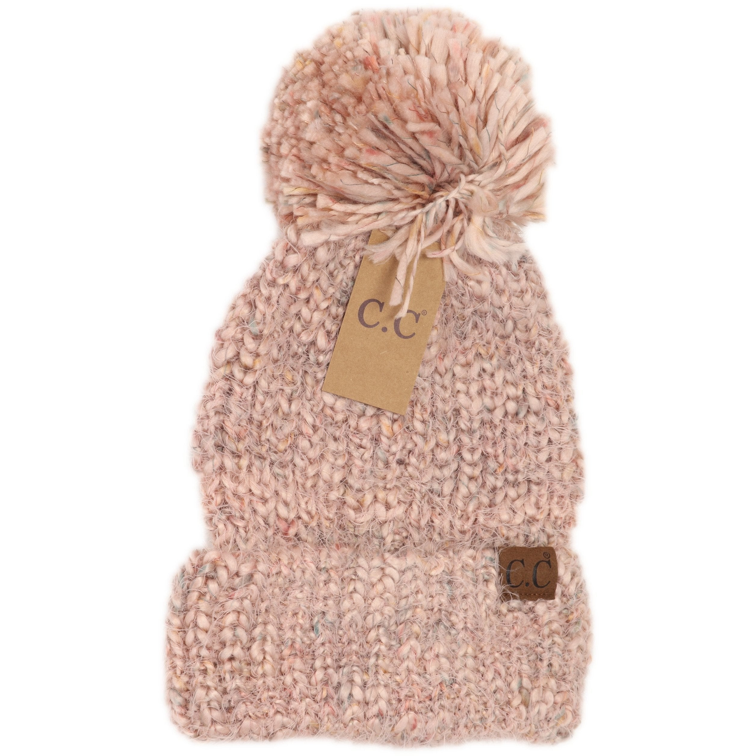 Mult Color Feather Pom Beanie