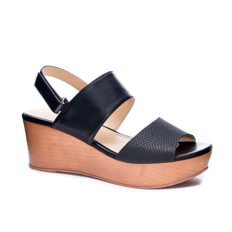 Snake Velcro Black Wedge