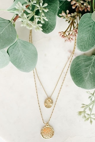 Two-Layer Coin Pendant Necklace