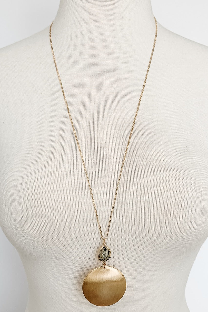 Necklace with Round Metal Pendant