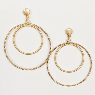 Double Circle Dangle Earrings