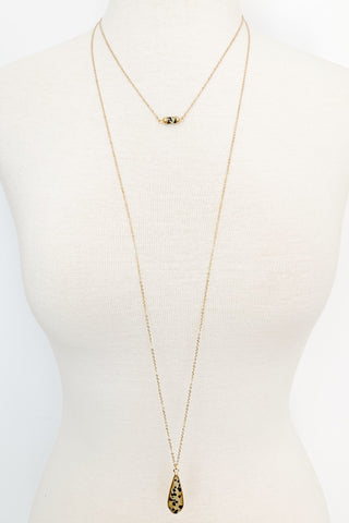 Two Layer Dainty Stone Necklace