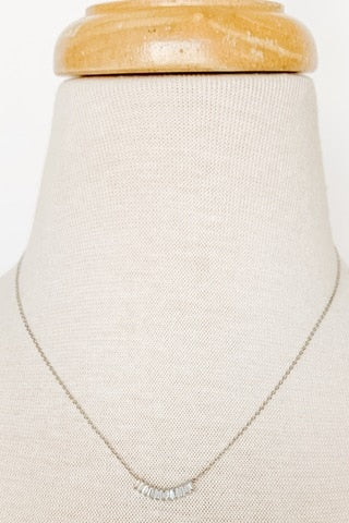 Curved Cubic Zirconia Dainty Necklace