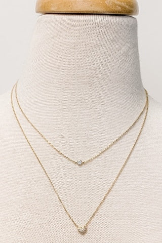 Two-Layer Dainty CZ Heart Necklace