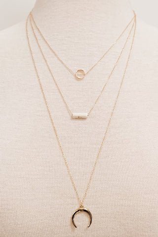 Three-Layer Crescent Necklace