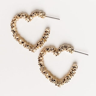 Textured Heart Hoop Earring