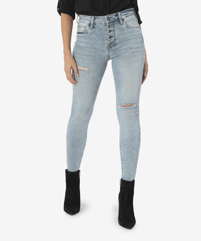 Connie High Rise Ankle Skinny Exposed Button