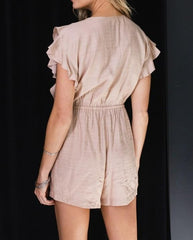Front Button Ruffle Romper