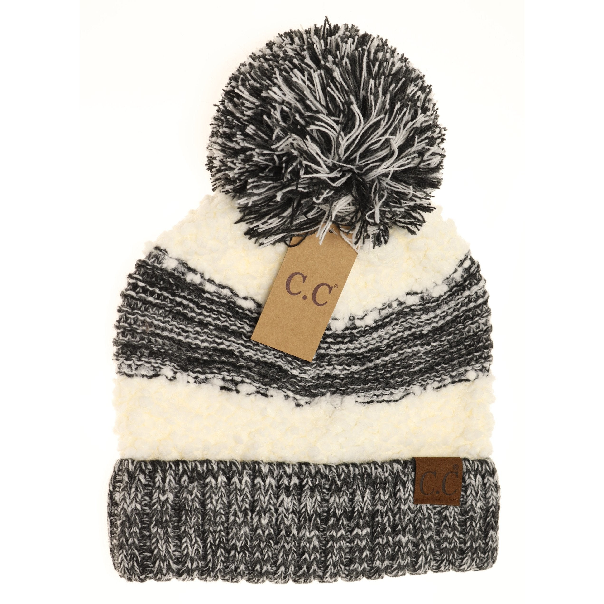 Popcorn Heathered Knit Pom Beanie