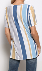 Stripe Round Neck S/S Top