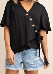 Textured Button Side Tie Top