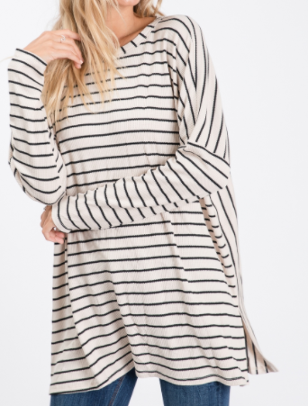 Striped Side Slit Long Sleeve