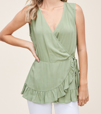 Ruffle Hem Sleeveless Wrap Top