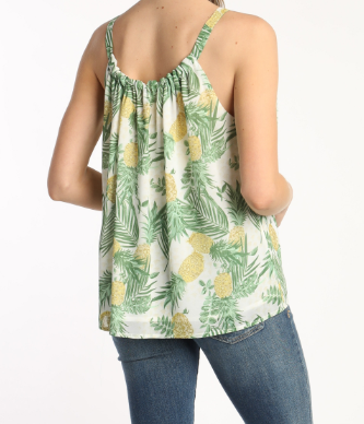Pineapple Printed Tie Sleeve Top