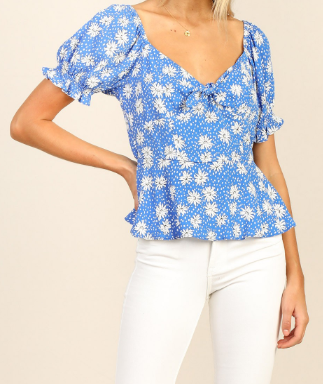Puff S/S Knotted Floral Top