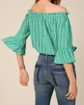 Off Shoulder Tie Striped Top