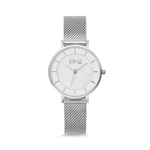 1302 32mm Pearl/Silver Mesh Watch
