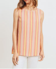 Stripe Sleeveless Key Hole Top