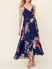 Floral Sleeveless Wrap Dress