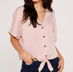 Button Down Knot Front Top