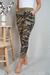 Camouflage Print Knit Fitted Jogger