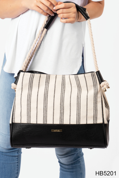 Nautical Striped Rope Handle Tote