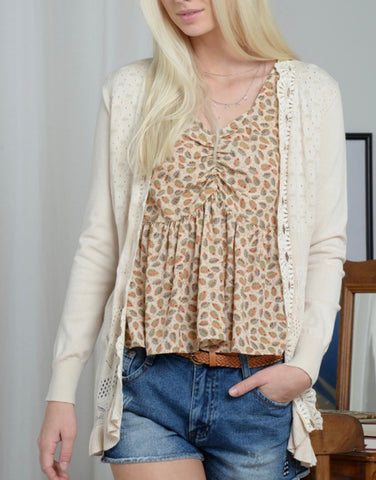 Lace Detail Knitted Cardigan