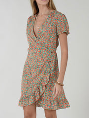 Floral Short Sleeve Wrap Dress