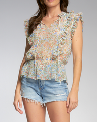 Sleeveless Ruffle Print Top