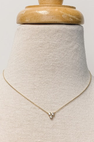 Dainty CS Three-Stone Circle Necklace