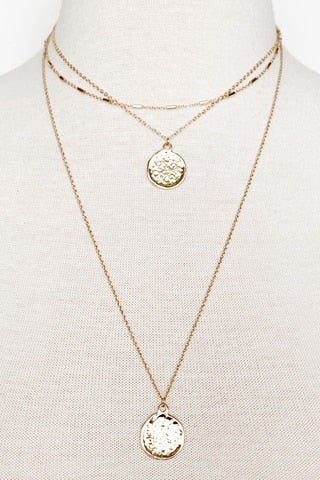 Three-Layer Coin Charm Necklace