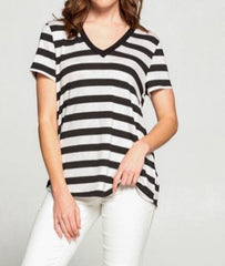 V Neck Striped Casual Top