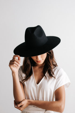 Scottie Black- Stiff Wide Brim Hat