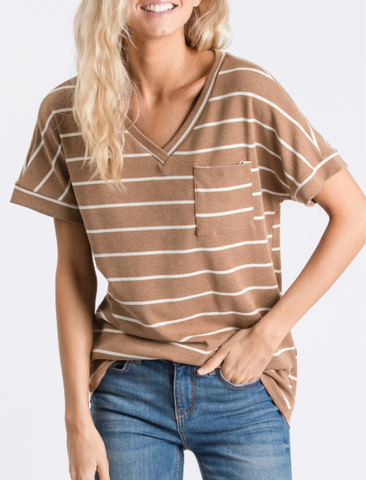 Pocket Striped Short Sleeve
